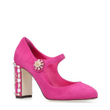 Embellished Suede Mary-Janes