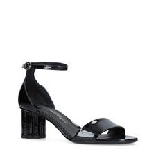 Mid-Heel Patent Leather Sandals
