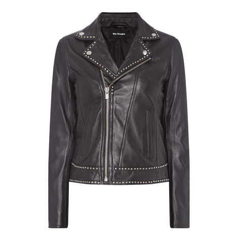 Studded Leather Biker Jacket , ${color}