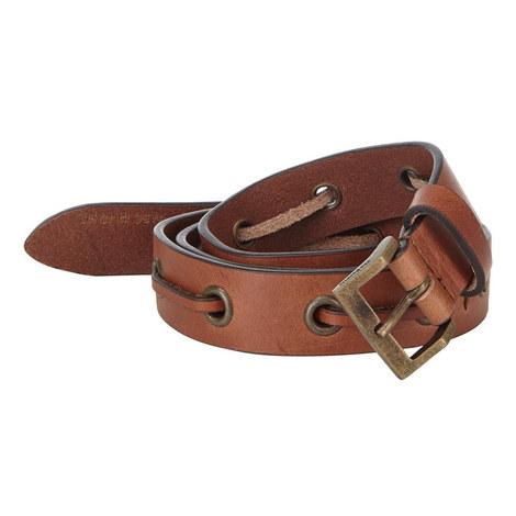 Leather Lace Detail Belt, ${color}