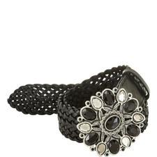 Crystal-Embellished Woven Belt