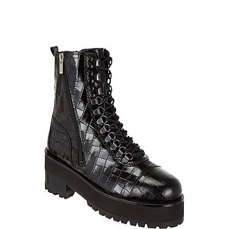 Croc-Embossed Leather Platform Ankle Boots