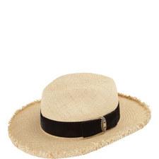 Velvet Grosgrain Straw Hat