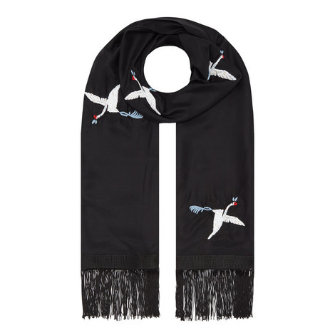 Embroidered Silk Scarf, ${color}
