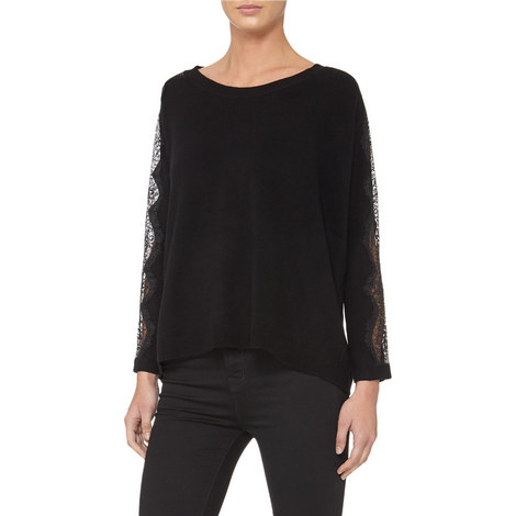 Cashmere-Wool Lace Detail Sweater, ${color}