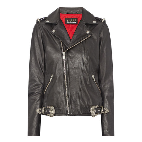 Buckle Detail Leather Biker Jacket , ${color}