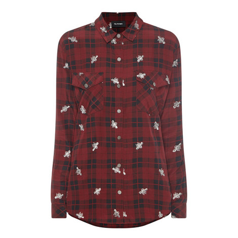 Bee Embroidery Check Shirt, ${color}