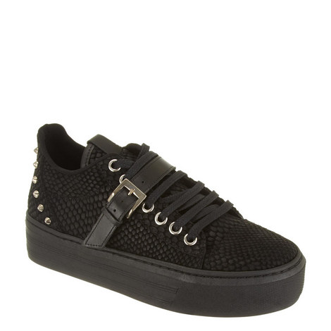 Reptile-Effect Leather Platform Trainers , ${color}