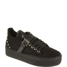 Reptile-Effect Leather Platform Trainers