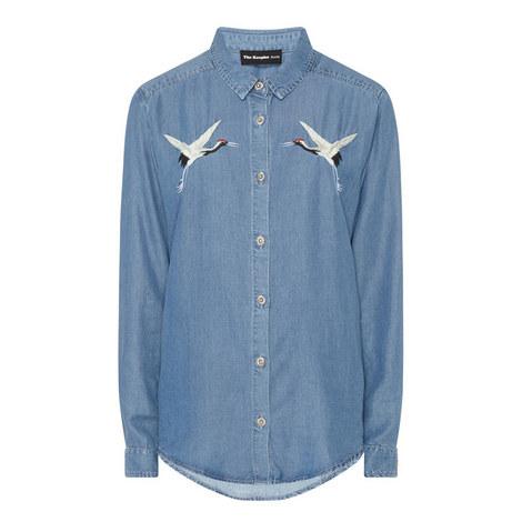 Embroidered Denim Shirt, ${color}