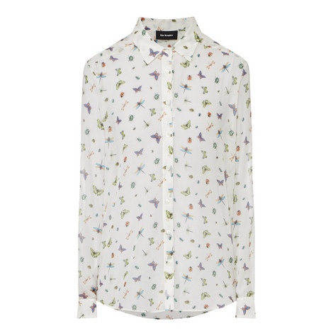 Silk-Blend Crêpe Shirt, ${color}