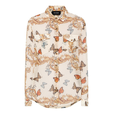 Royal Butterfly Print Shirt, ${color}