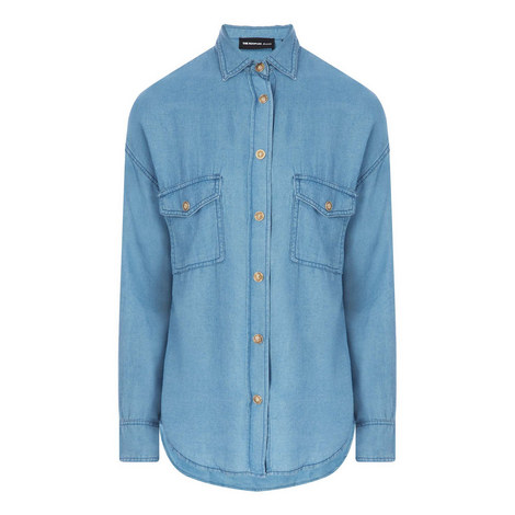 Relaxed Denim Shirt, ${color}