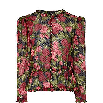 Floral Pearl Button Blouse