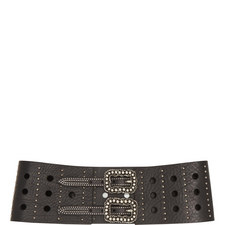 Perforated High-Waisted Leather Belt