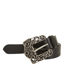 Bejewelled Buckle Leather Belt