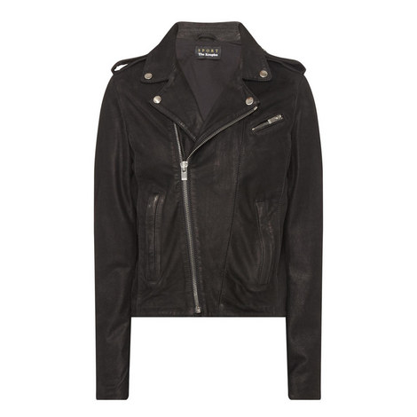 Washed Leather Biker Jacket , ${color}