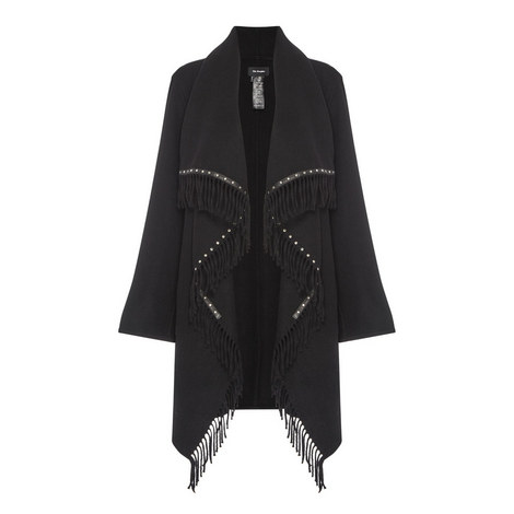 Stud & Fringe Detail Poncho, ${color}