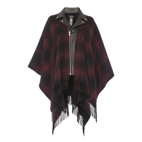 Leather Collar Poncho, ${color}
