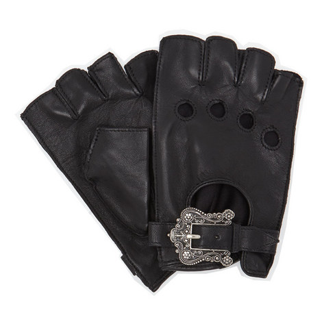 Floral Buckle Leather Mittens, ${color}