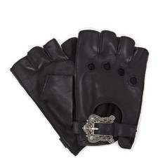 Floral Buckle Leather Mittens