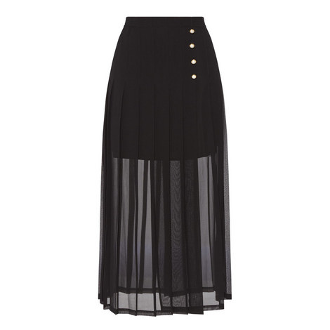 Sheer Pleated Skirt, ${color}