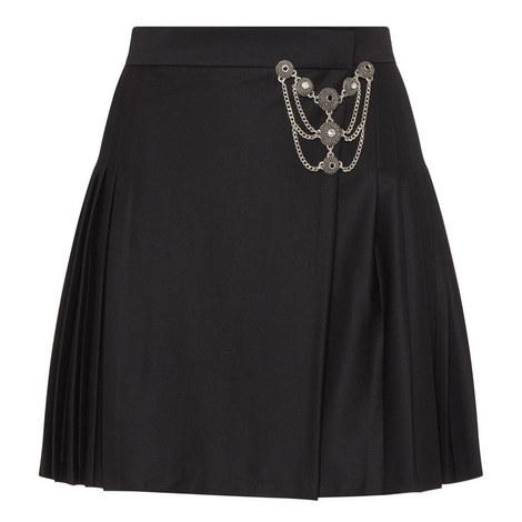 Chain Detail Kilt Skirt, ${color}