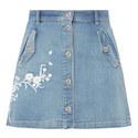 Embroidered Denim Skirt, ${color}