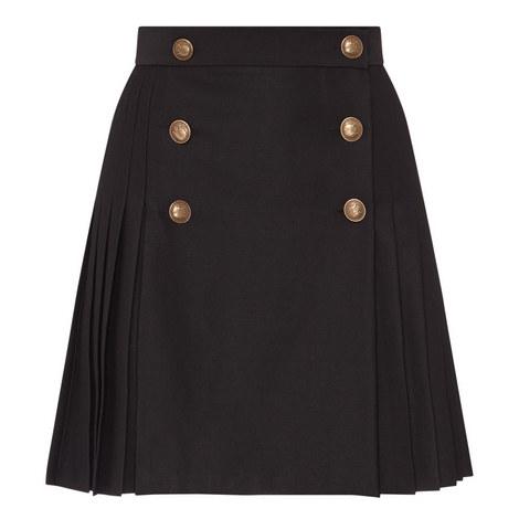 Brass Button Kilt Skirt, ${color}