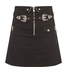 Western Buckle Denim Skirt