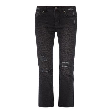 Distressed Leopard Print Jeans, ${color}