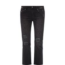 Distressed Leopard Print Jeans