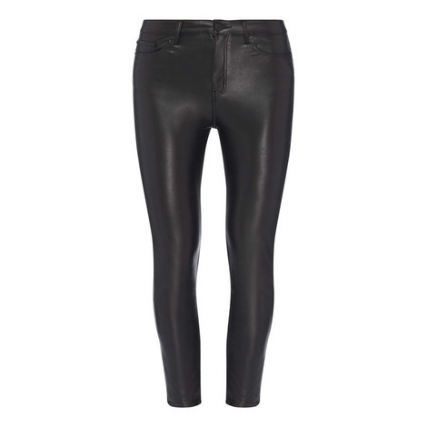 Skinny Faux Leather Trousers, ${color}