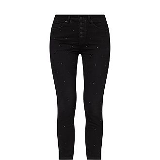 High-Waisted Studded Slim Fit Jeans