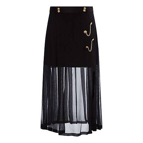 Pleated Skirt With Chains, ${color}