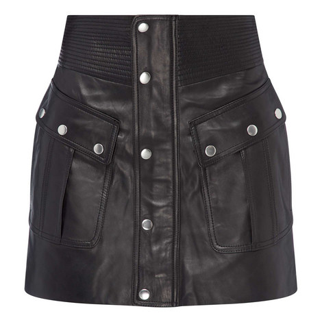 Leather Mini Skirt, ${color}