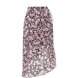 Floral Frill Midi Skirt