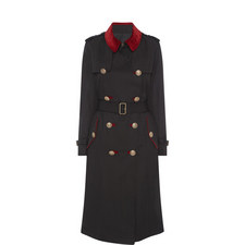 Velvet Collar Trench Coat