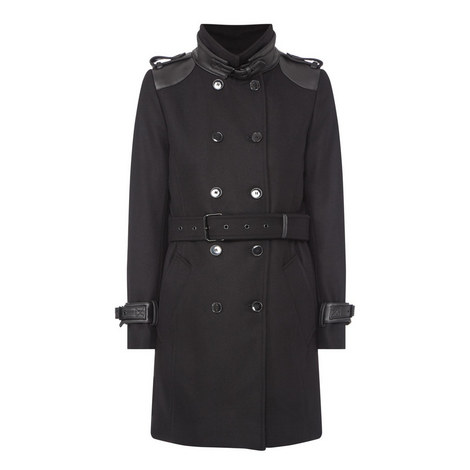 Leather Detail Wool Coat, ${color}
