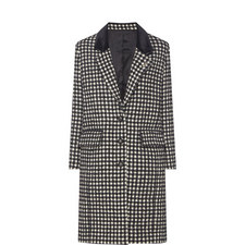 Houndstooth Velvet Collar Coat