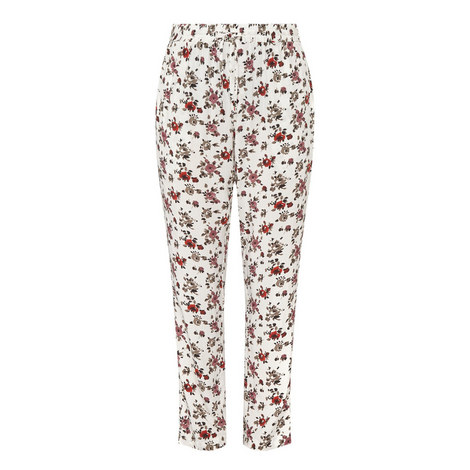 Aquarelle Rose Print Trousers, ${color}