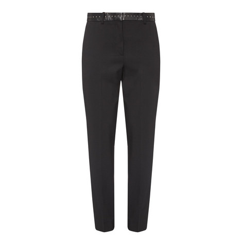 Leather Trim Trousers, ${color}