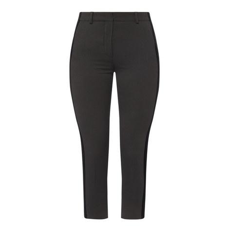 Velvet Trim Cropped Trousers, ${color}