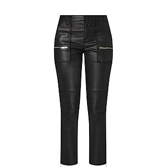 Zip Pocket Faux Leather Trousers