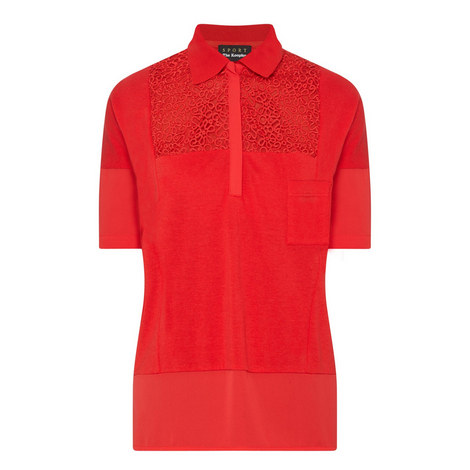 Lace Panel Polo Shirt, ${color}