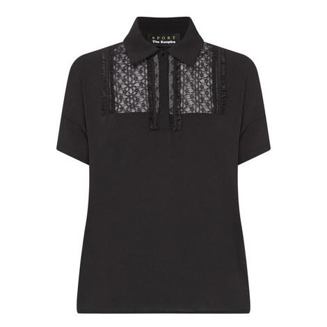 Lace Panel Polo Shirt, ${color}