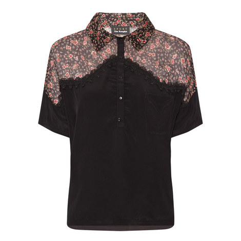 Floral Panel Polo Shirt, ${color}