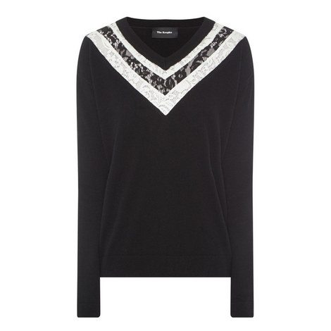 Lace Panel Sweater, ${color}