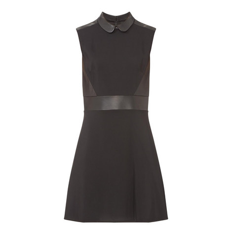 Collared Leather Detail Dress, ${color}