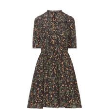 Gathered Aviary Print Dress